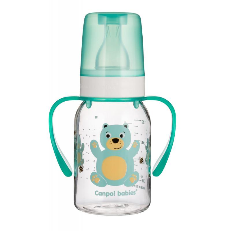 Canpol babies láhev s potiskem CUTE ANIMALS 120 ml a úchyty - Medvídek