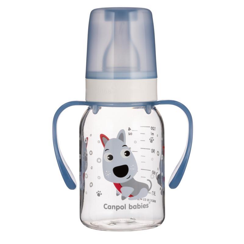 Canpol babies láhev s potiskem CUTE ANIMALS 120 ml a úchyty - Pejsek