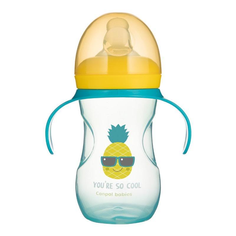 Canpol babies Tréninkový hrníček se silikonovým pítkem a úchyty SO COOL 270 ml - Ananas