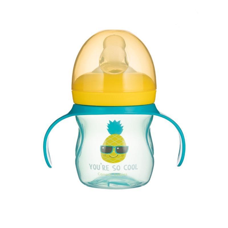 Canpol babies Tréninkový hrníček se silikonovým pítkem a úchyty SO COOL 150 ml - Ananas