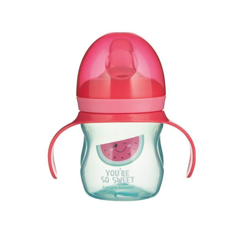 Canpol babies Tréninkový hrníček se silikonovým pítkem a úchyty SO COOL 150 ml - Meloun