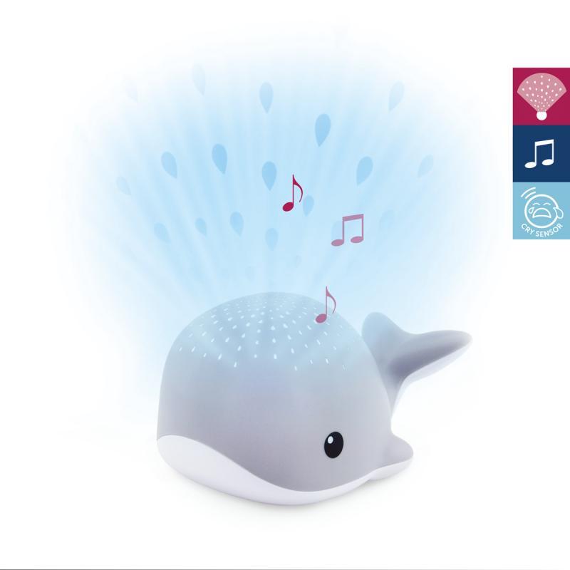 ZAZU Velryba WALLY - noční projektor s melodiemi - šedá