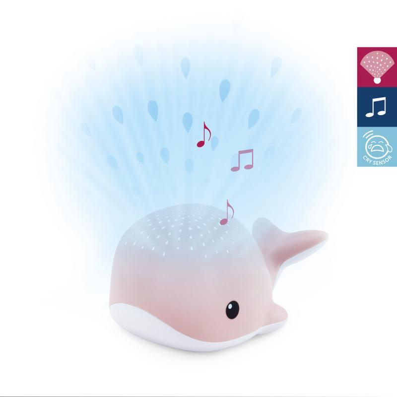 ZAZU Velryba WALLY - noční projektor s melodiemi - růžová