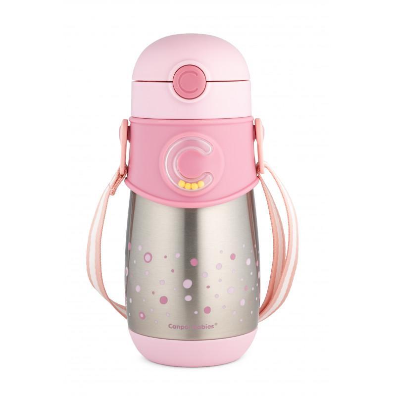 Canpol babies Termolahev se silikonovou slámkou 300 ml - pink
