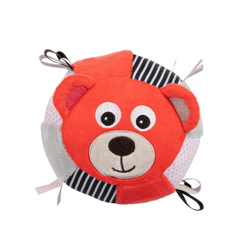 Canpol babies Plyšový senzorický míček Medvídci - červená