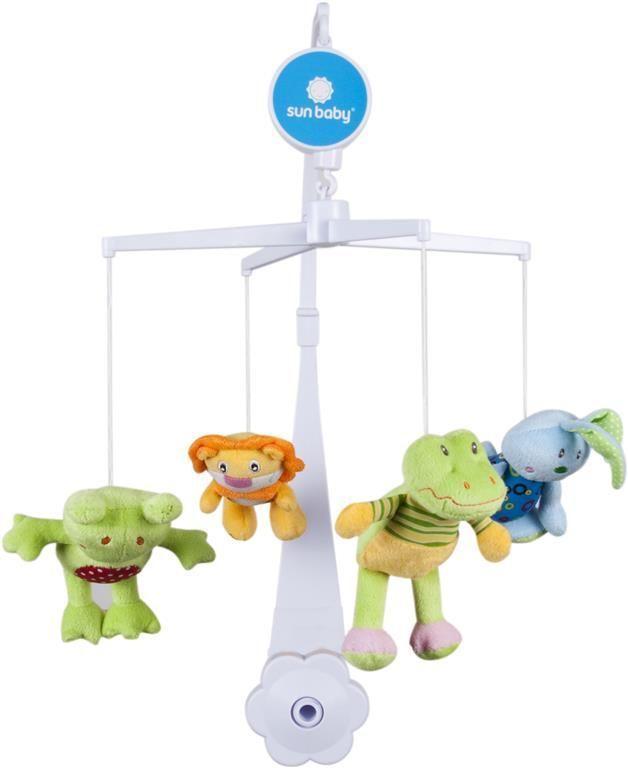 Sunbaby Kolotoč nad postýlku s plyšovými hračkami - žába+lev+krokodýl+zajíc