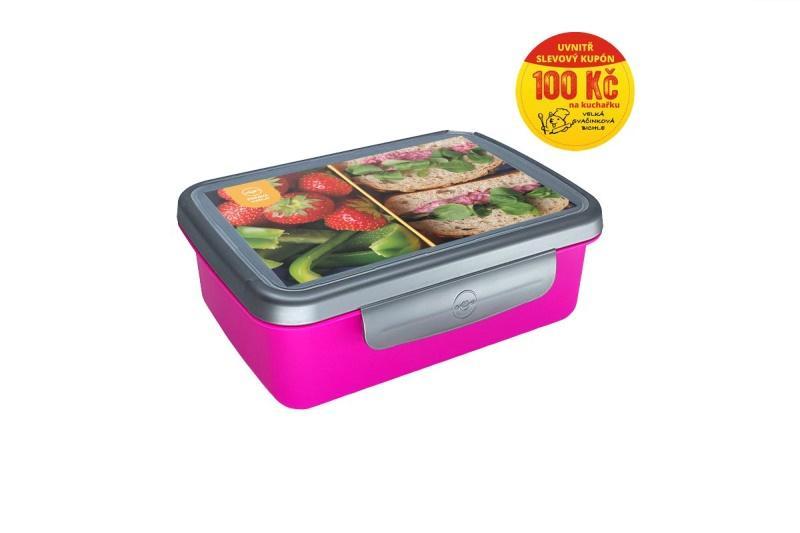 Zdravá sváča komplet box Recepty - fialová/nerez