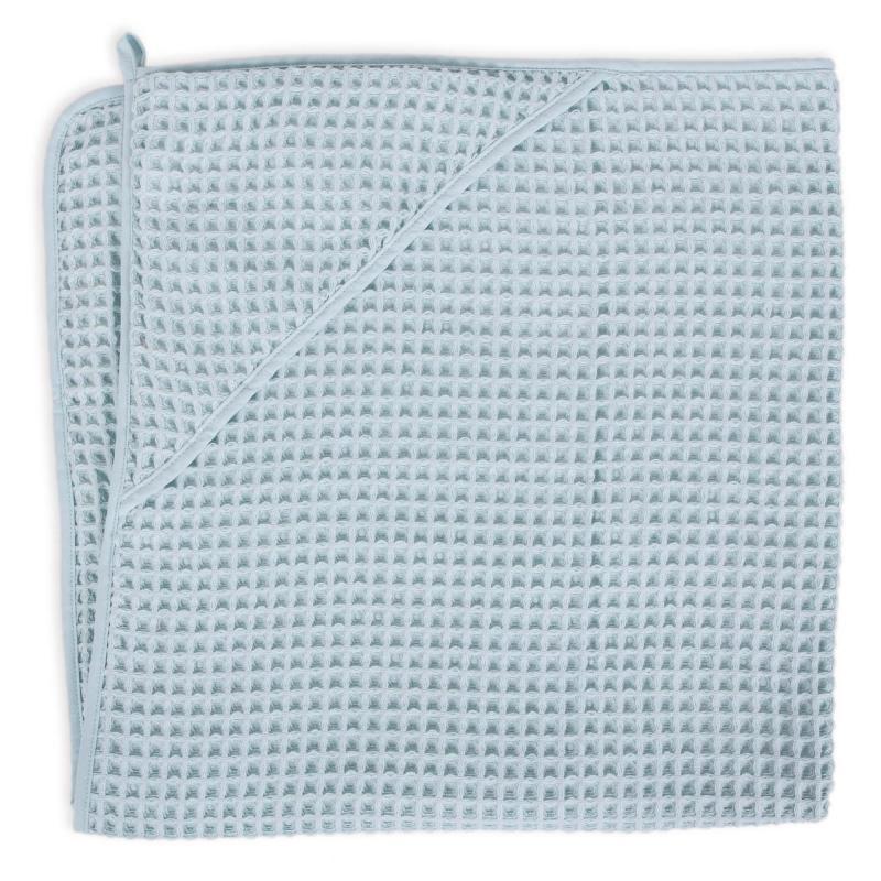 Ceba baby Ručník s kapucí Waffle Line 100 x 100 cm - Mist Blue