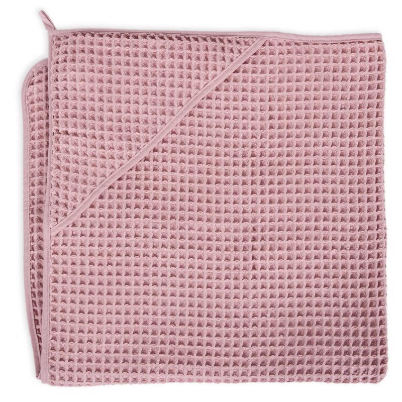 Ceba baby Ručník s kapucí Waffle Line 100 x 100 cm - Silver Pink