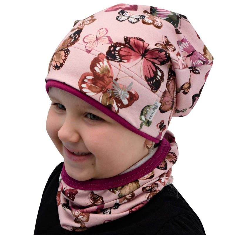 Esito Jarní čepice spadená BIO Motýl růžová - vel.48