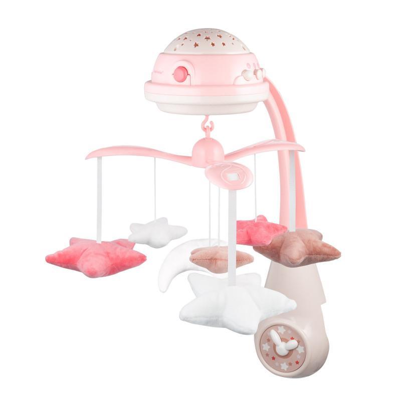 Canpol babies kolotoč plyšový s projektorem Hvězdičky - růžová