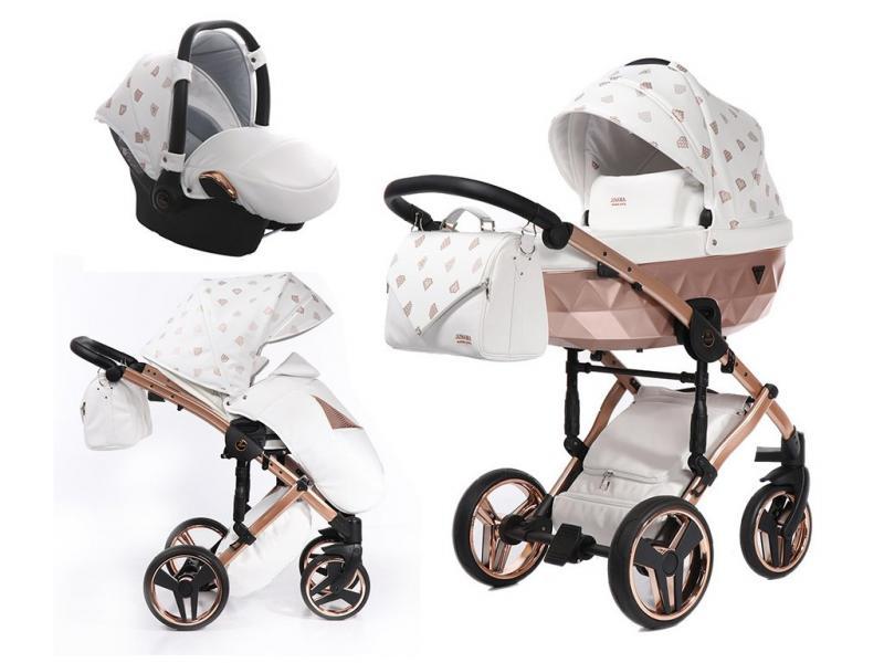 Kočárek Junama Glow 3v1 s autosedačkou BabySchild Glow 2021 - 01 White/Copper