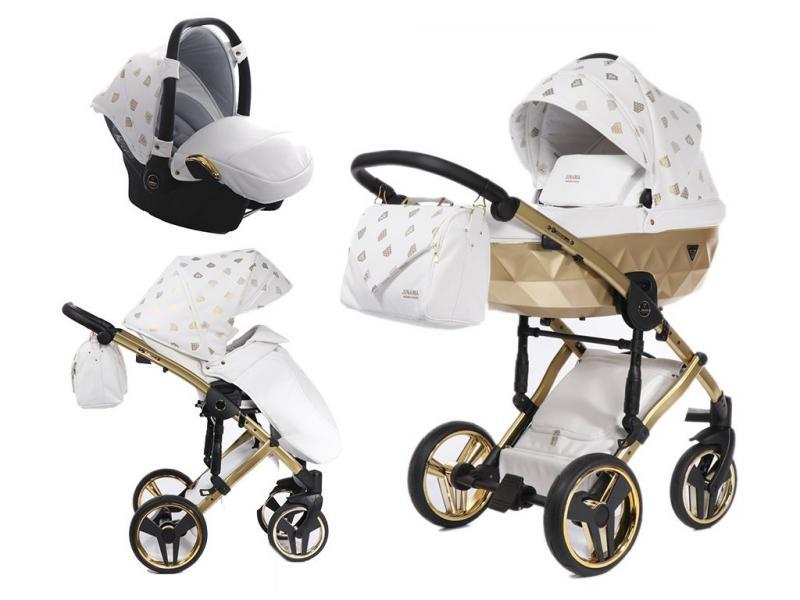 Kočárek Junama Glow 3v1 s autosedačkou BabySchild Glow 2021 - 02 White/Gold