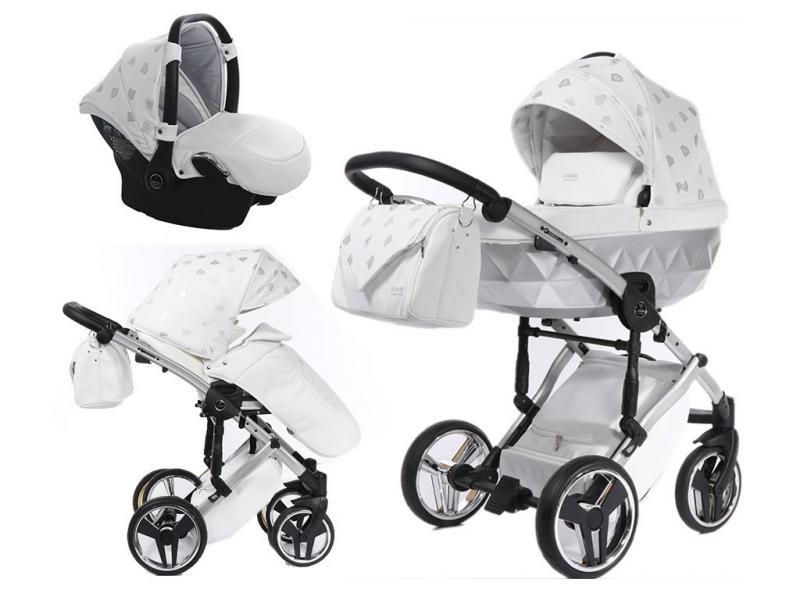 Kočárek Junama Glow 3v1 s autosedačkou BabySchild Glow 2021 - 03 White/Silver