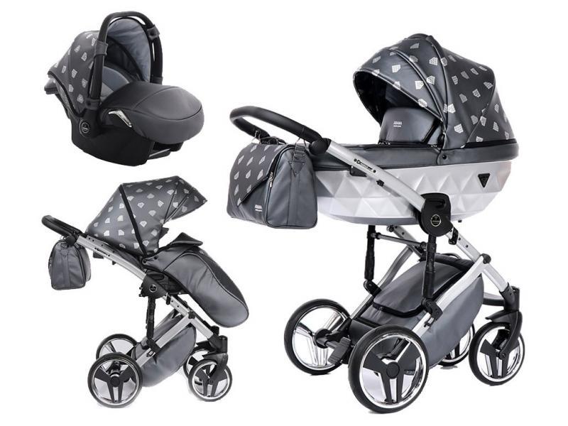 Kočárek Junama Glow 3v1 s autosedačkou BabySchild Glow 2021 - 04 Grey/Silver