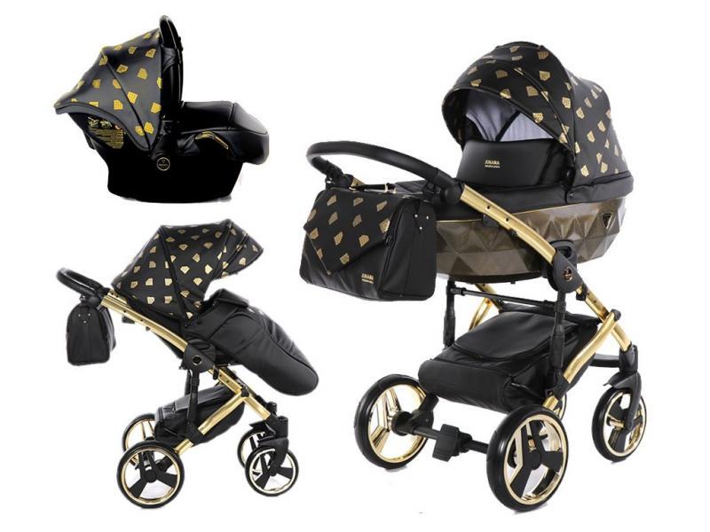 Kočárek Junama Glow 3v1 s autosedačkou BabySchild Glow 2021 - 05 Black/Gold