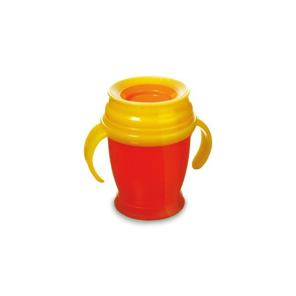LOVI nevylévací hrníček 360° MINI 210 ml s úchyty bez BPA - červená