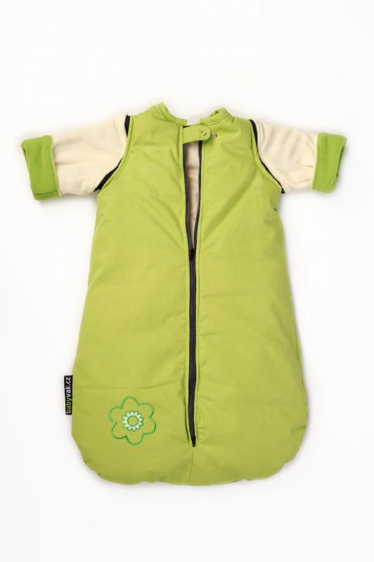 Babyvak Spací pytel s odepínacími rukávy malý - zelená/ smetanová