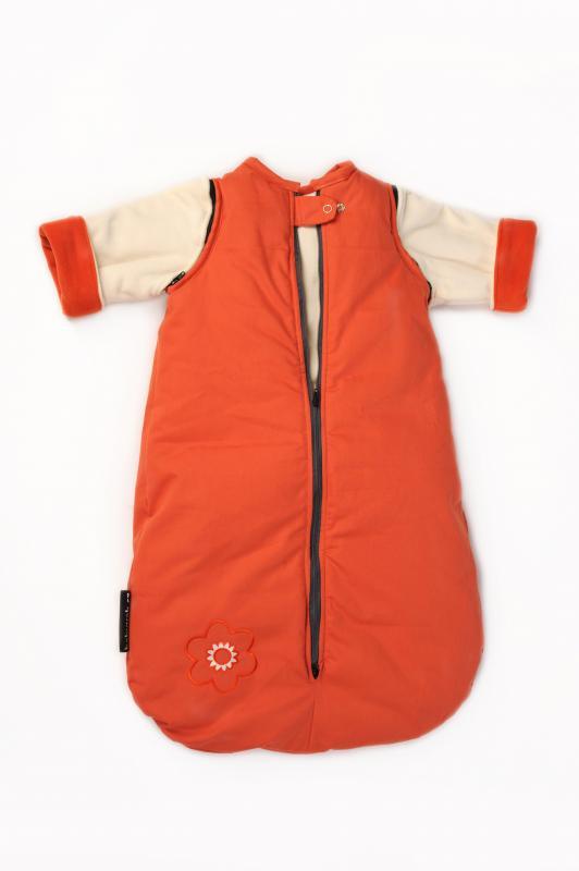 Babyvak Spací pytel s odepínacími rukávy malý - oranžová/ smetanová