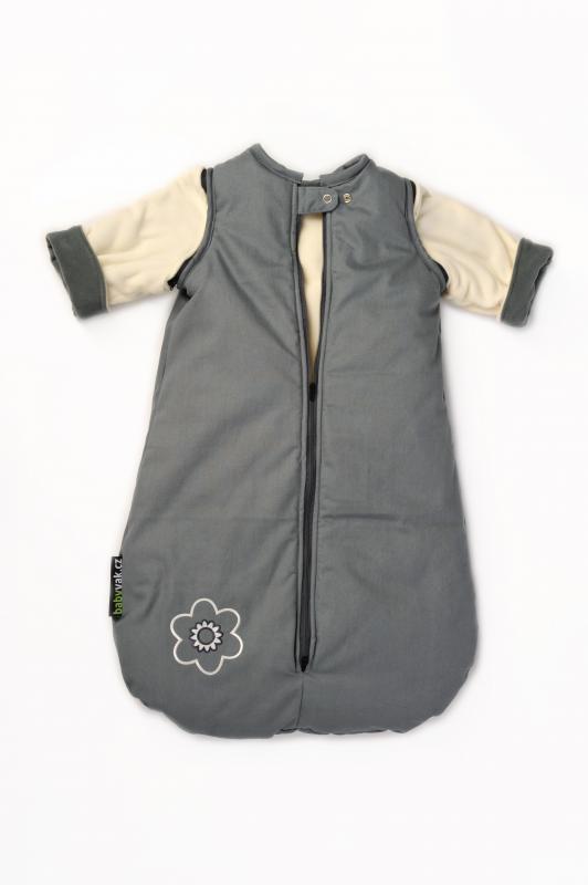 Babyvak Spací pytel s odepínacími rukávy malý - šedá/béžová