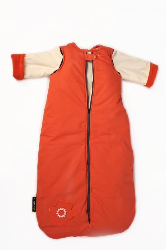 Babyvak Spací pytel s odepínacími rukávy velký - oranžová/ smetanová