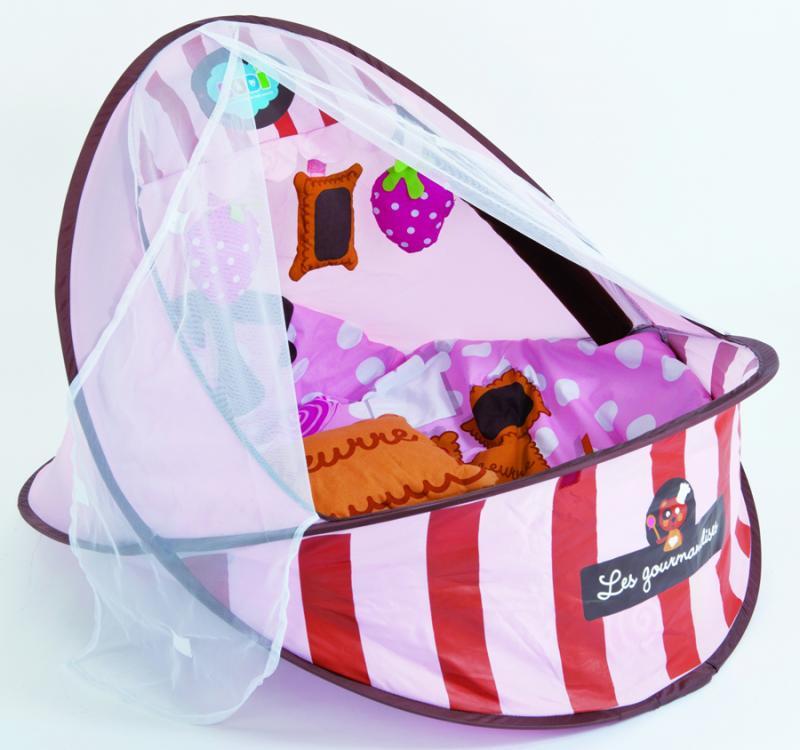 Ludi Cestovní postýlka/deka s hrazdou - růžová