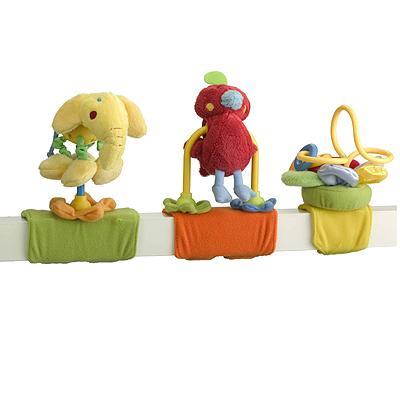 Jané chrastítko Trio - sada 3 hraček na suchý zip - exotická zvířátka