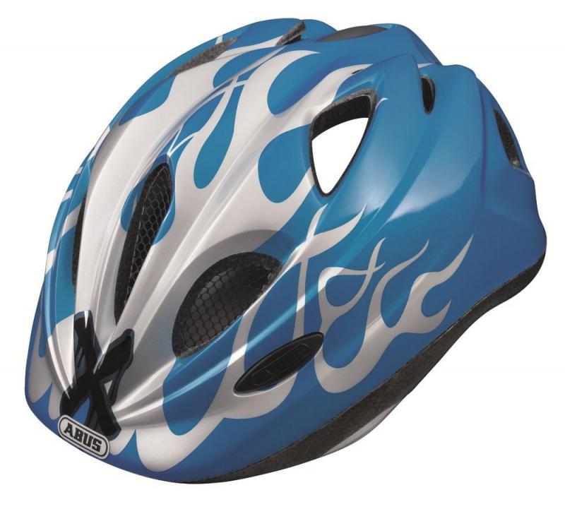 Dětská cyklistická helma ABUS Super Chilly - X-Flame Blue velikost S