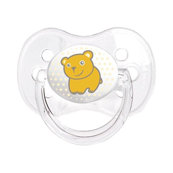 Canpol babies dudlík silikonový symetrický 0-6m TRANSPARENT - oranžová