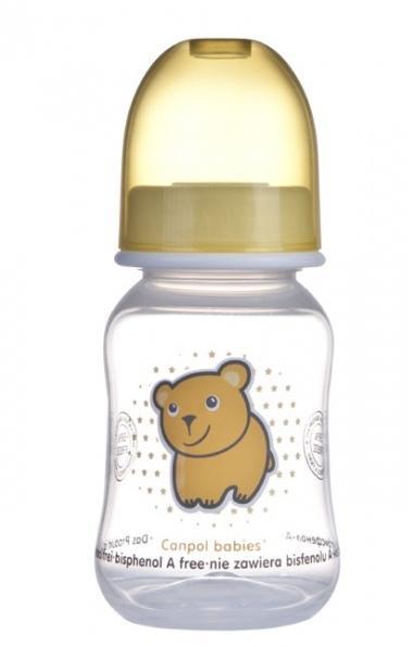 Canpol babies láhev s potiskem TRANSPARENT 120 ml bez BPA - žlutá/medvěd