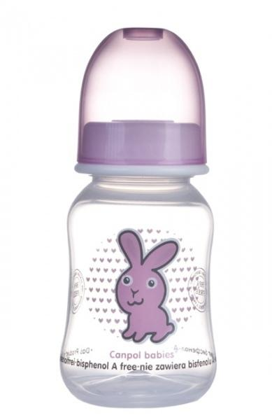 Canpol babies láhev s potiskem TRANSPARENT 120 ml bez BPA - růžová/zajíc