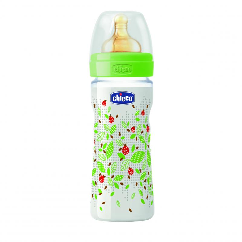 Chicco láhev s potiskem Berušky 250ml, 0m+ - Zelená - kaučuk. dudlík