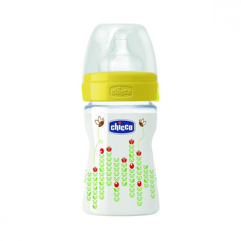 Chicco láhev s potiskem Včelky 150 ml, 0m+ - Žlutá - silikonový dudlík