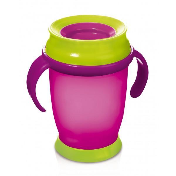 LOVI nevylévací hrníček 360° JUNIOR 250 ml s úchyty bez BPA - růžová DOP