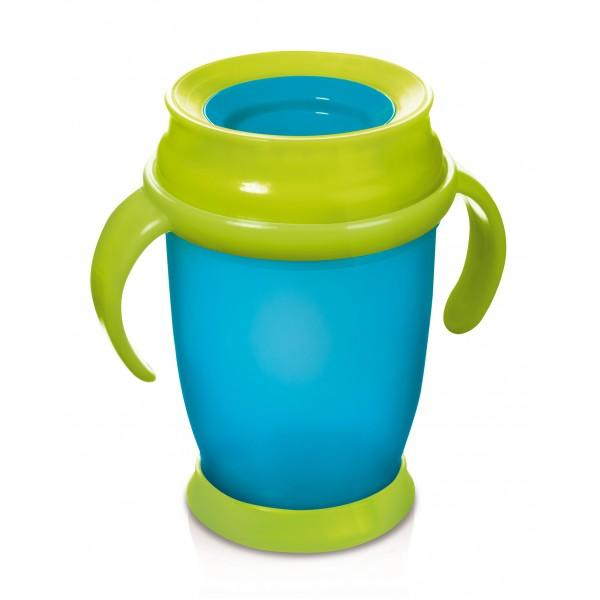 LOVI nevylévací hrníček 360° JUNIOR 250 ml s úchyty bez BPA - tyrkysová DOP