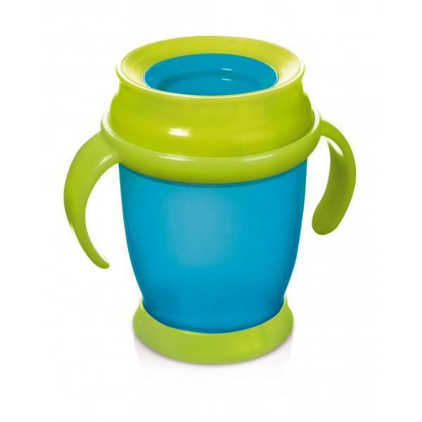 LOVI nevylévací hrníček 360° MINI 210 ml s úchyty bez BPA - tyrkysová