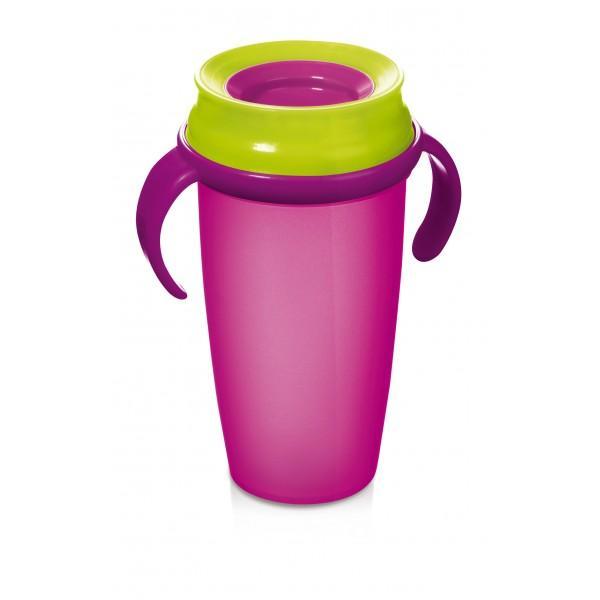 LOVI nevylévací hrníček 360° ACTIVE 350 ml s úchyty bez BPA - růžová