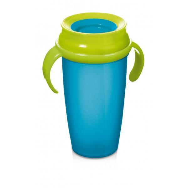 LOVI nevylévací hrníček 360° ACTIVE 350 ml s úchyty bez BPA - tyrkysová