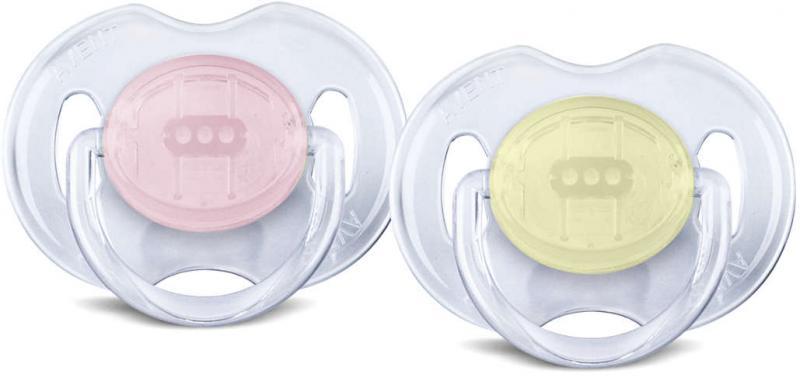 Avent dudlík PRŮHLEDNÝ 0-6m bez BPA, 2 ks - růžová/žlutá