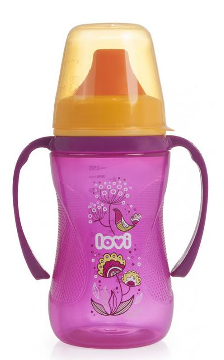 LOVI nevylévací hrníček Folky 250 ml bez BPA - růžový