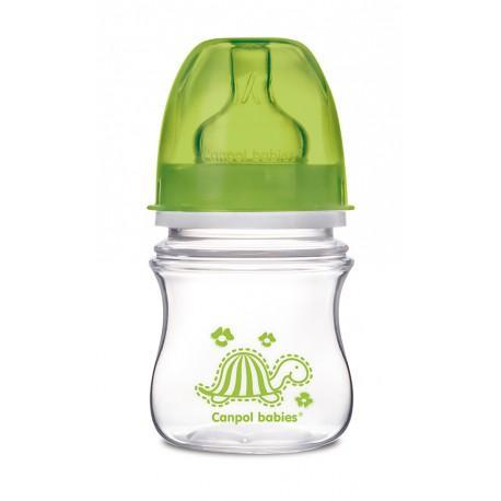 Canpol babies láhev se širokým hrdlem EasyStart Colourful Animals 120 ml 3m+ - zelená