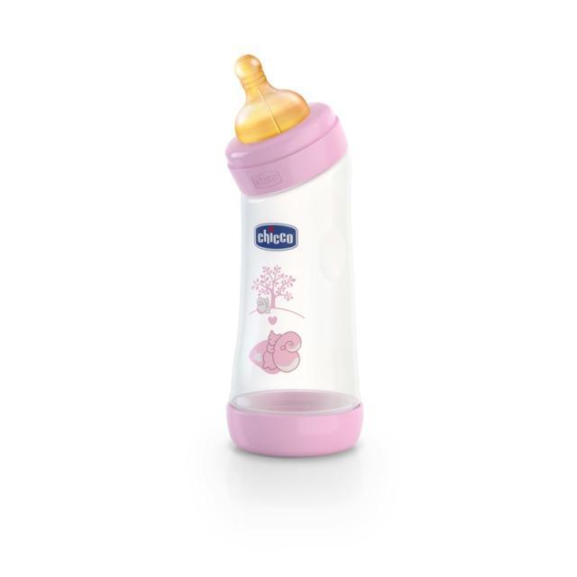Chicco láhev Angled polypropylen 250 ml, kaučukový dudlík 0m+ - růžová-veverka