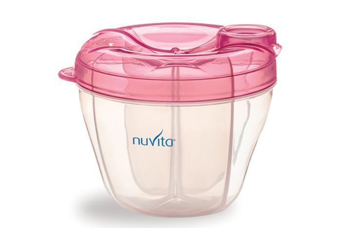 Nuvita nádoba a dávkovač na sušené mléko - růžová