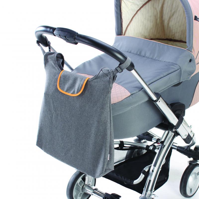 DIAGO taška ke kočárku DELUXE - oranžová/šedá