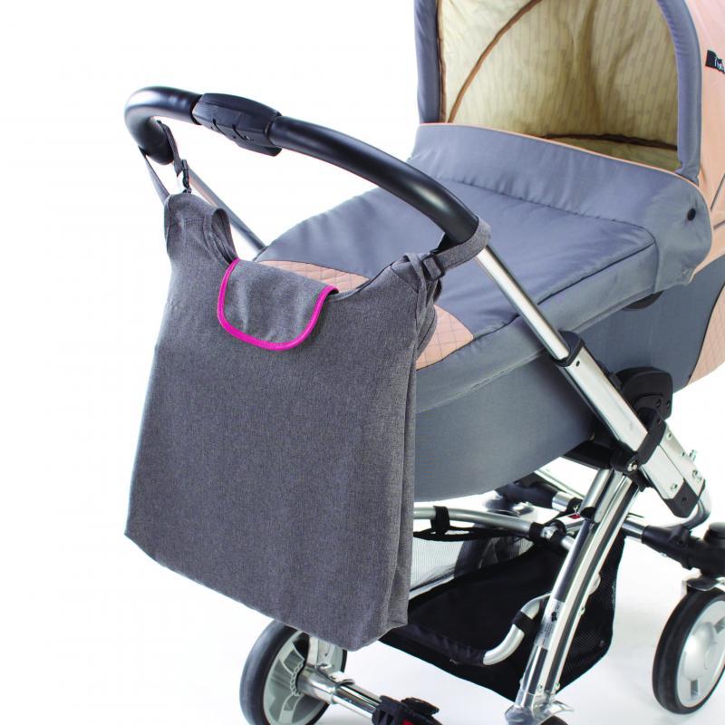 DIAGO taška ke kočárku DELUXE - růžová/šedá