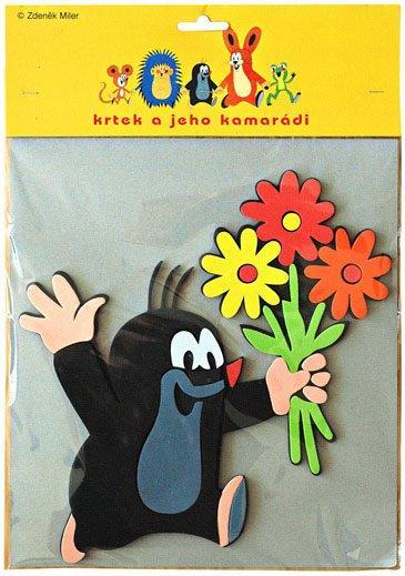 Krtek dekorace pěnová 6 druhů - Krtek a květiny