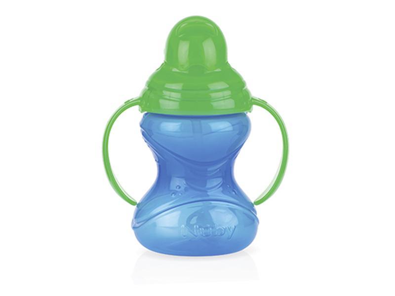Nuby Netekoucí hrnek se zaklapávacím brčkem a držadly 12m+, 300ml - tmavě modrá/zelené víčko