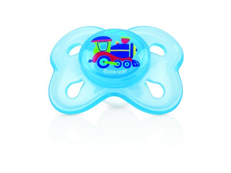 Nuby Dudlík silikonový s masážními výstupky - modrá