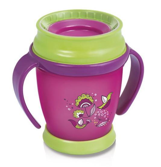 LOVI nevylévací hrníček 360° MINI FOLKY 210 ml s úchyty bez BPA - růžový