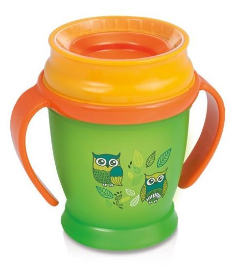 LOVI nevylévací hrníček 360° MINI FOLKY 210 ml s úchyty bez BPA - zelený